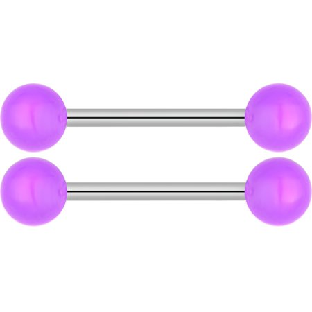 14G 16mm (5/8 Inch) Surgical Steel Glow In The Dark Nipple & Tongue Ring Barbells (Sold as Pair) (Glow Rings Wholesale)