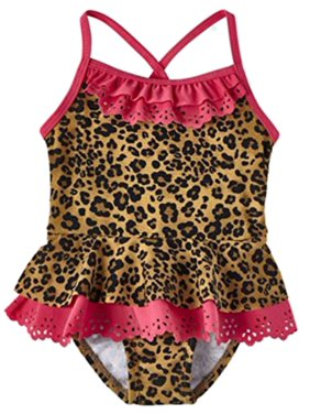 Infant & Toddler Girls Brown & Pink Leopard Print 1 Piece Swimming Suit 3-6m