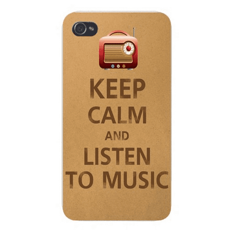 Apple Iphone Custom Case 5 / 5s AND SE White Plastic Snap on - Keep Calm and Listen to Music (Listen To The Radio On My Phone)