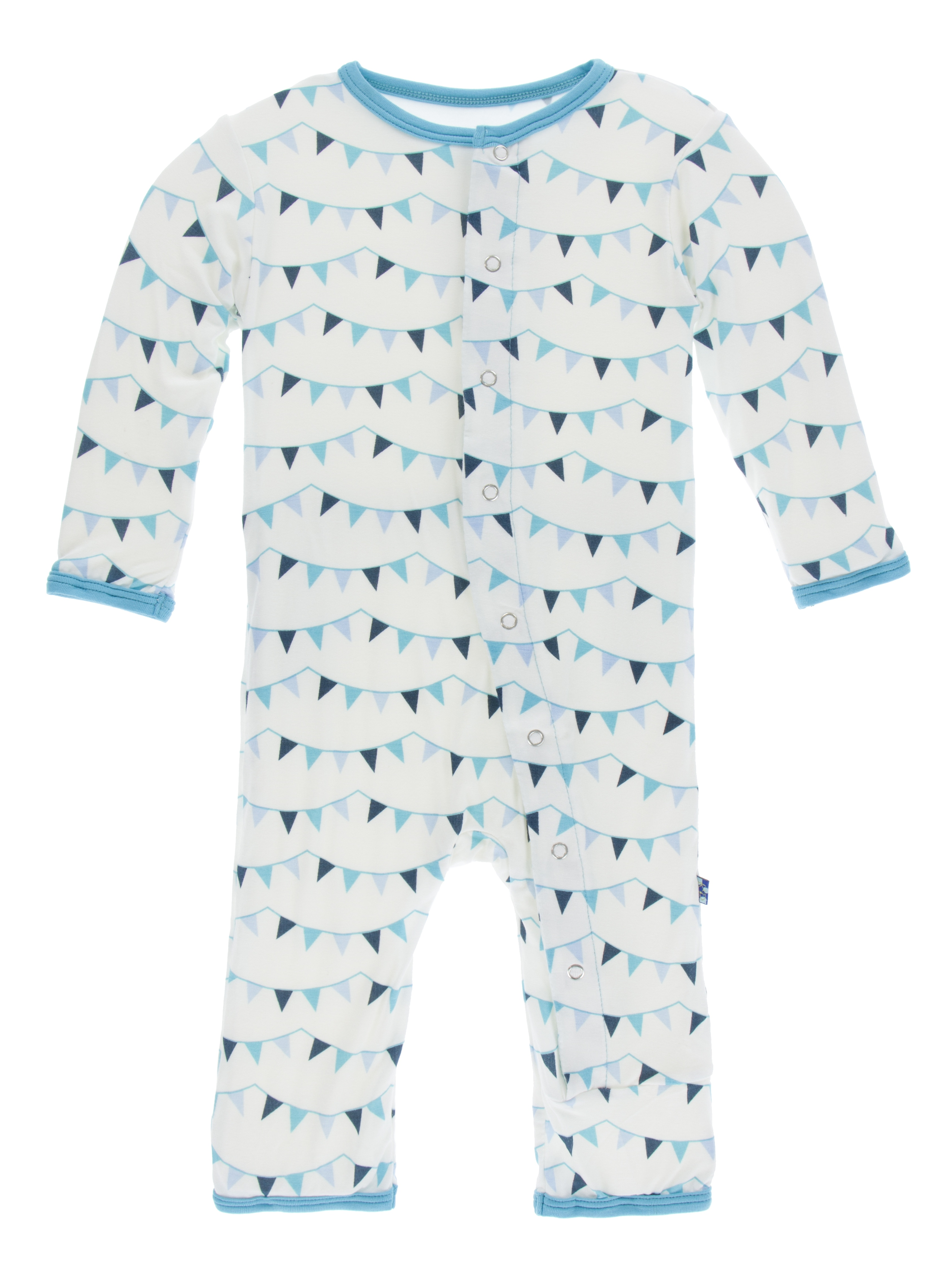 Kickee Pants Unisex Baby Print Coverall with Snaps (Confetti Party Flags -, 12-18 Months)