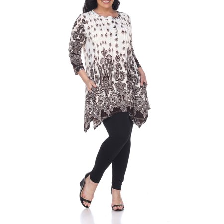 Women's Plus Size Paisley Print Tunic Top With Pockets