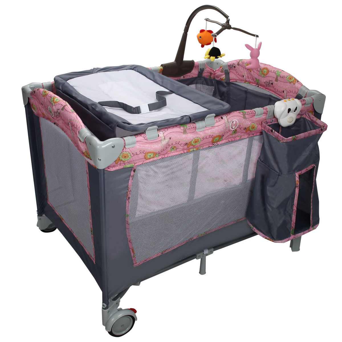 Costway Foldable Baby Crib Playpen Playard Pack Travel Infant Bassinet Bed Music Pink