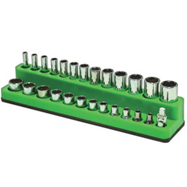 0.25 in. Drive Shallow & Deep 26-Hole Magnetic Socket Organizer, Neon Green