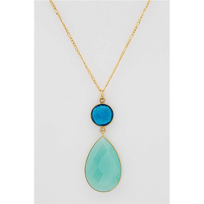 Henri Wills 610313216601 Double Drop Faceted Gemstone Pendant Aqua Chalcedony by Henri Wills