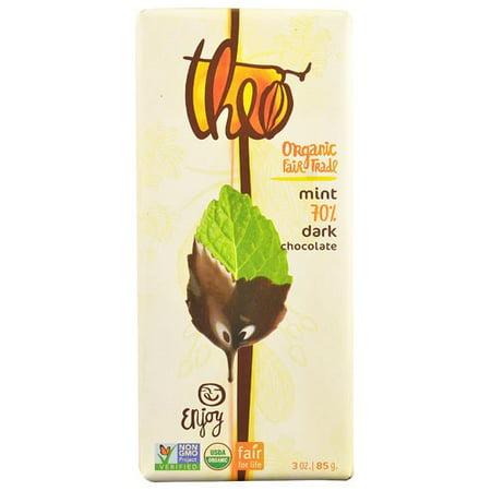(2 Pack) Theo Chocolate Organic 70% Dark Chocolate Bar Mint 3 oz (Chocolate Bars Organic)