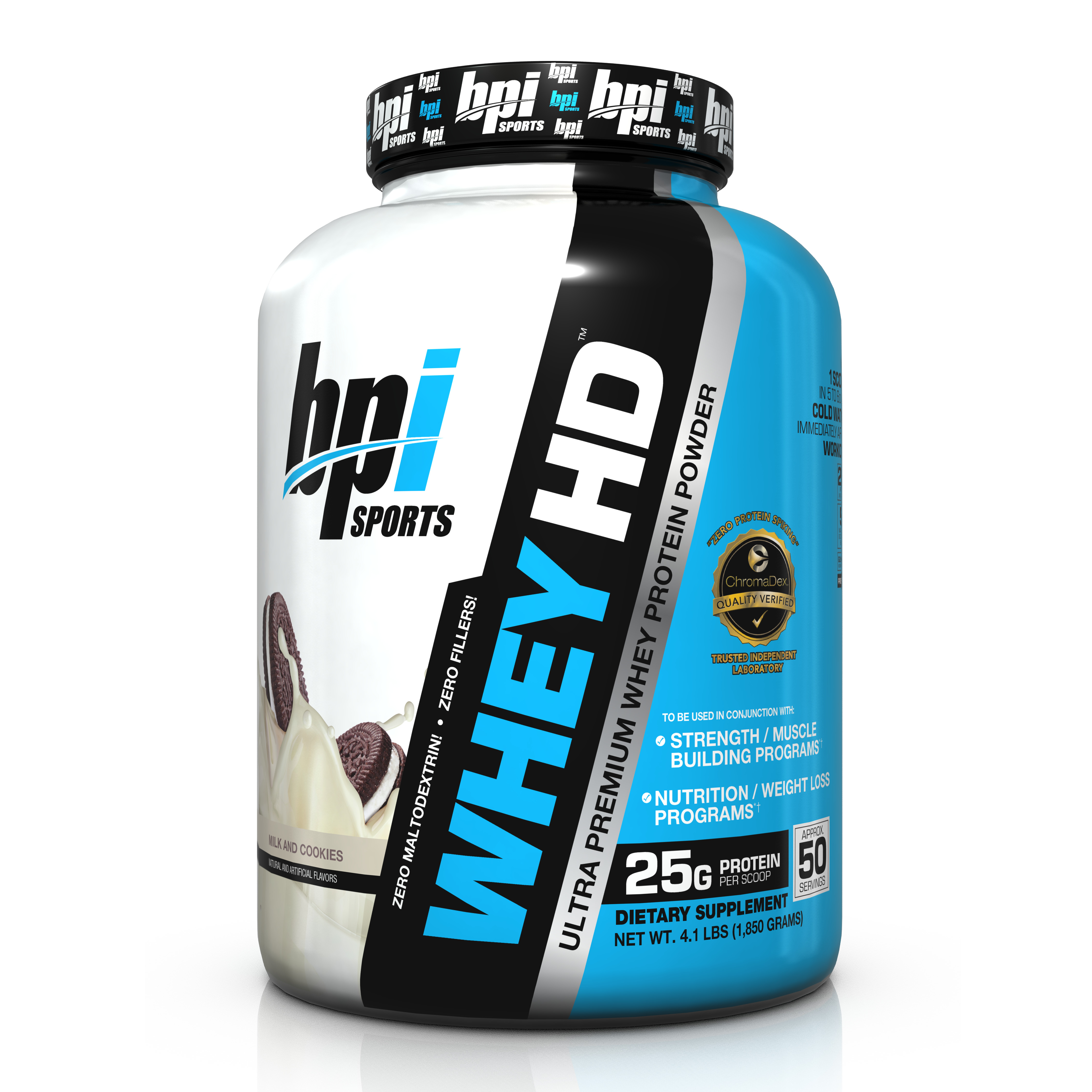 BPI Sports Whey HD Protein Milk And Cookies, 50 Servings