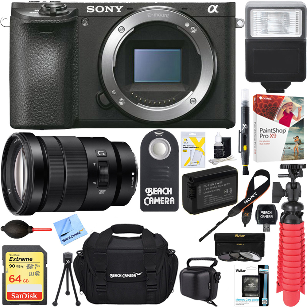 Sony ILCE-6500 a6500 4K Mirrorless Camera with 18-105mm f/4 G OSS Power Zoom Lens + 64GB SDXC Memory Card + Soft Carrying Case + NP-FW50 Battery + 72mm Filter Kit + Card Reader + Mini Tripod+More
