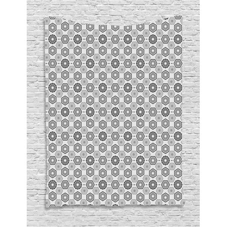 Geometric Tapestry, Blue Grey Abstract Colored Background Image with Hexagon Modern Art Print, Wall Hanging for Bedroom Living Room Dorm Decor, Grey Pale Grey, by Ambesonne