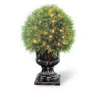 "Pre-Lit 27"" Artificial Upright Juniper Ball Topiary"