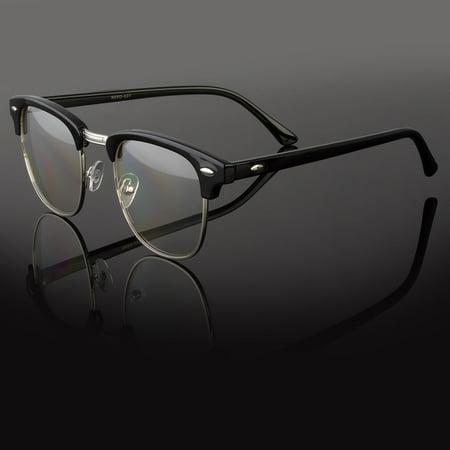 Designer Fashion Retro Clear Lens Nerd Frames Glasses Mens Womens Eyewear - Clear Nerd Glasses