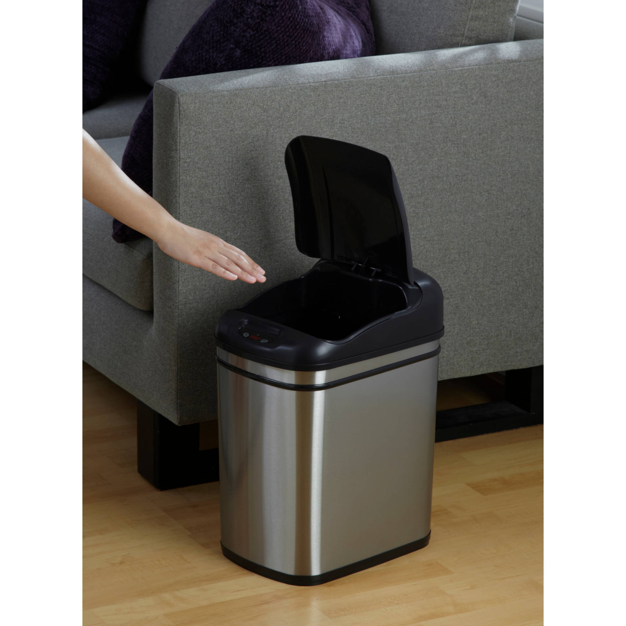 nine stars 6 3 gallon hands free infrared motion sensor trash can