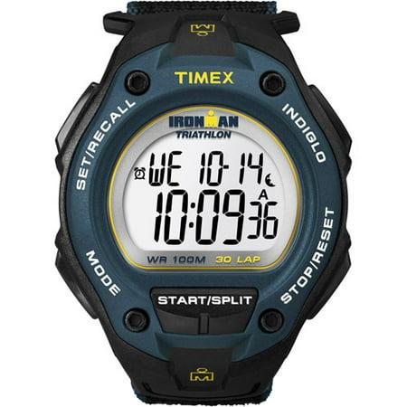 Timex Men's Ironman Classic 30 Oversized Black/Blue Watch, Fast Wrap Strap