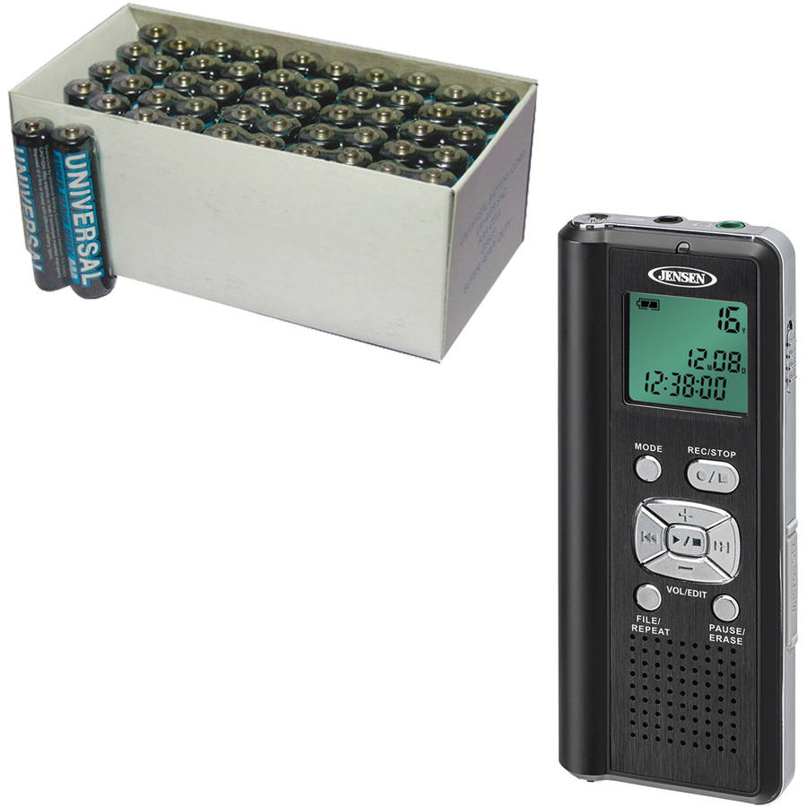 Jensen DR-115 4GB Digital Voice Recorder with microSD Card Slot, Includes 50 AAA Batteries