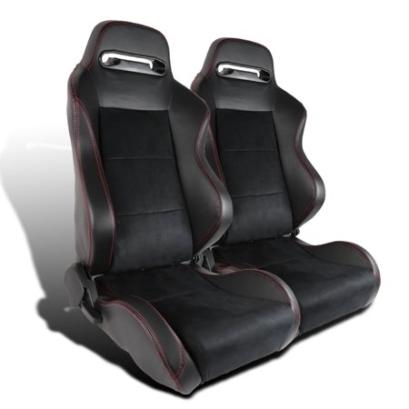 Spec-D Tuning Leather Jdm Red Stitch Pvc/Suede Recaro Style Racing Seats 1 Pair (Left +