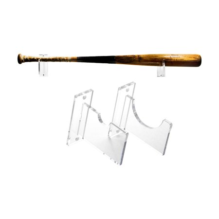 Baseball Bat Wall Mount for Horizontal Display -- Sturdy Clear Acrylic Holder Fits Any Baseball or Softball Bat -- Easy to Install