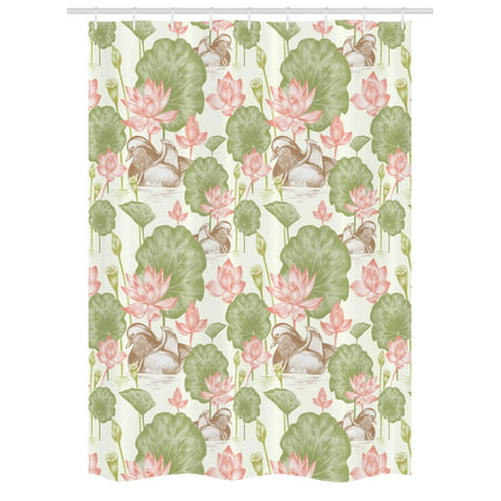 Rubber Duck Stall Shower Curtain Mandarin Ducklings In Lake Flowers Lilies Vintage Print River Nature
