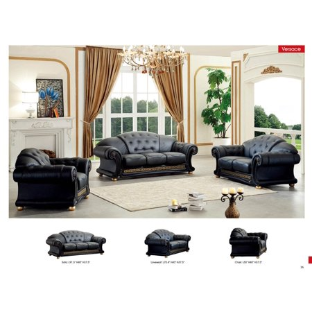 Pleasant Esf Versachi Classic Black Top Grain Italian Leather Living Room Sofa Set 3Pcs Home Interior And Landscaping Thycampuscom