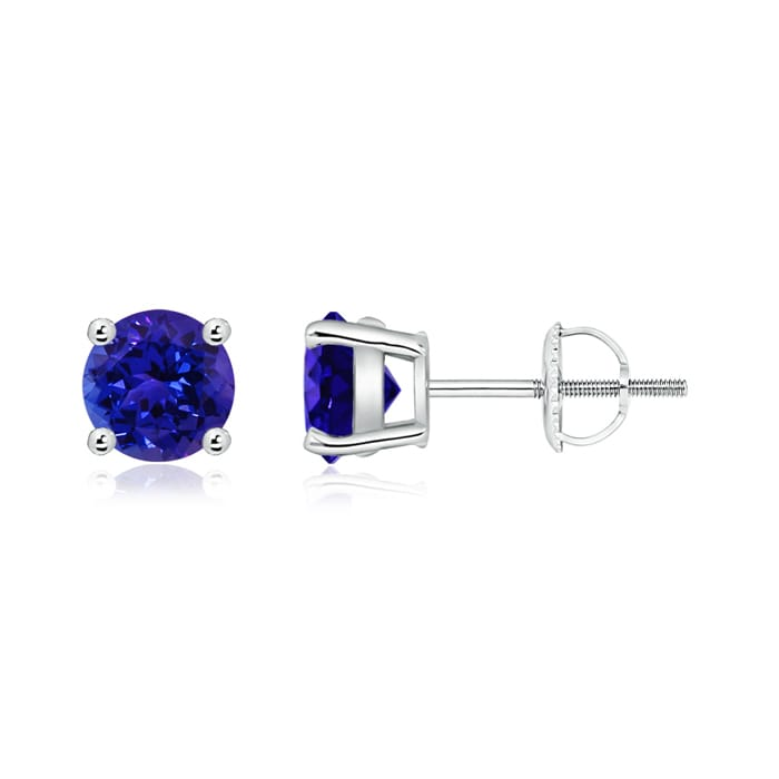Angara Basket-Set Round Tanzanite Stud Earrings Rvo8Lc48j