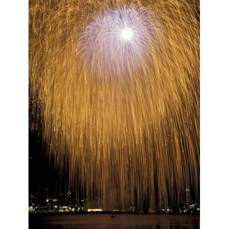 Fourth of July Fireworks over Lake Union, Seattle, Washington, USA Print Wall Art By Jamie & Judy Wild