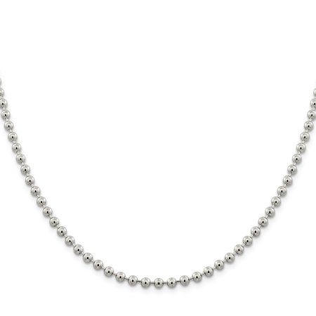 Sterling Silver 4mm Beaded - Silver Beaded Necklaces