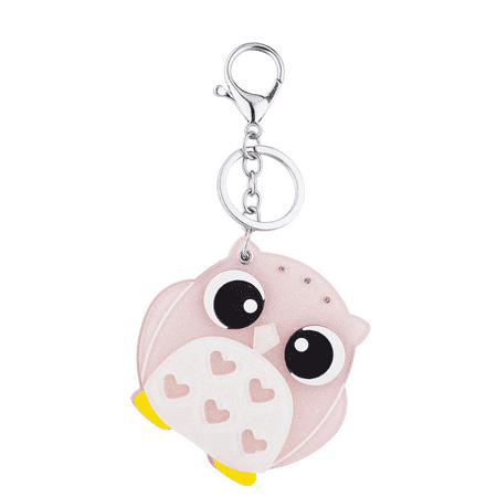 Lux Accessories Silver Tone Pink White Heart Lucite Owl Animal Fashion Keychain (Animal Keychains)