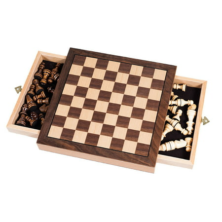 Elegant Inlaid Wood Chess Set Cabinet with Staunton Wood Chessmen by Hey! Play! Deluxe Staunton Chess Set