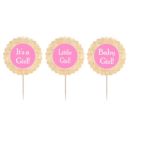 12pack Its a Girl / Little Girl /Baby Girl Cupcake Decoration Toppers / Picks -Burlap - Cup Cake Decorations