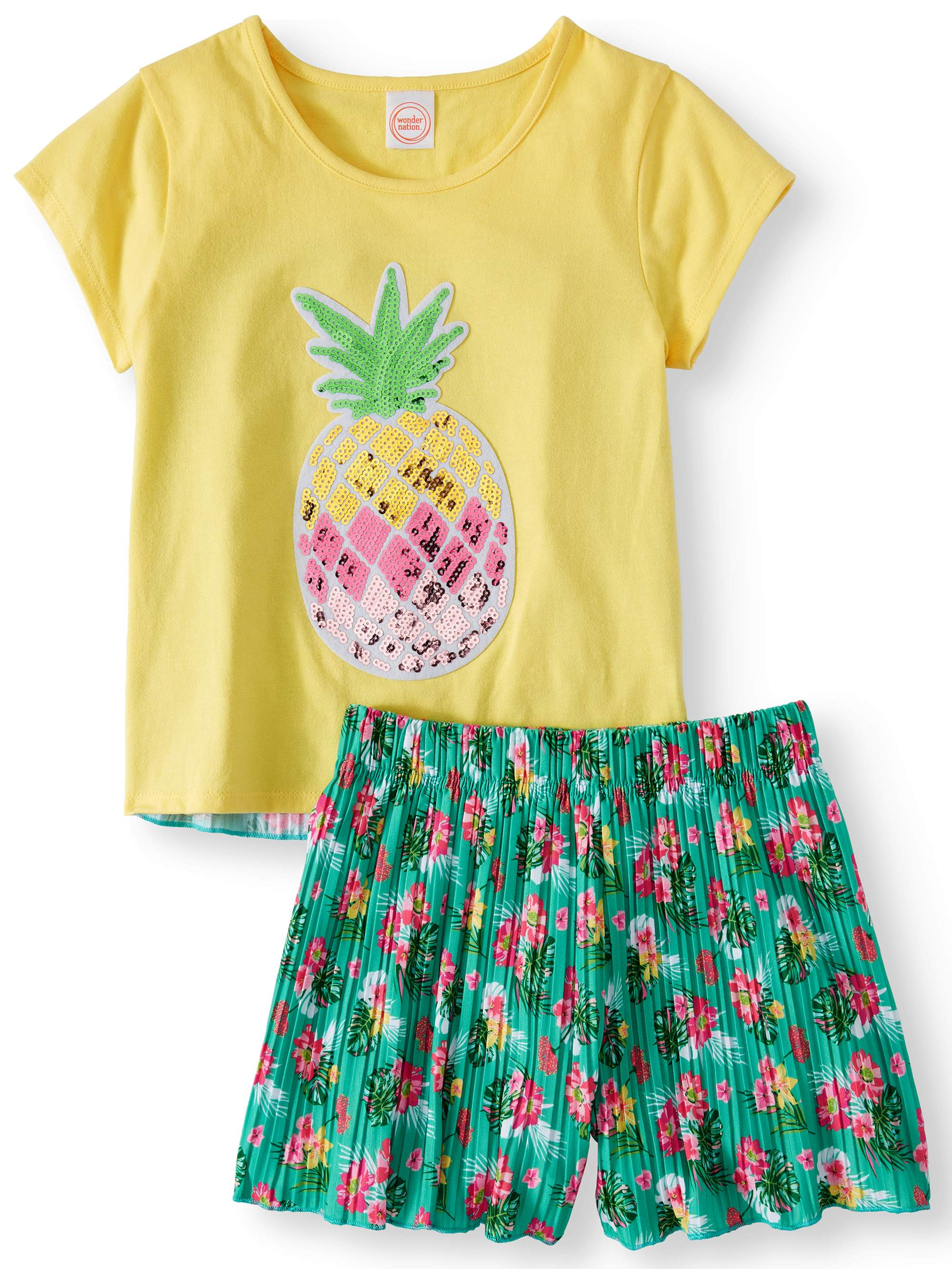 Girls' Tropical Fruit Tee and Pleated Short, 2-Piece Outfit Set