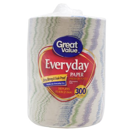 Great Value Everyday Premium Paper Plates  8 5 8   300 Count