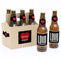 Valentine's Day Party Decorations for Women and Men - 6 Beer Bottle Label Stickers and 1 Carrier