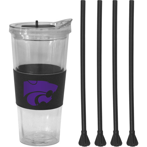 22oz NCAA Kansas State Wildcats Straw Tumbler with 4 Colored Replacement Propeller Straws