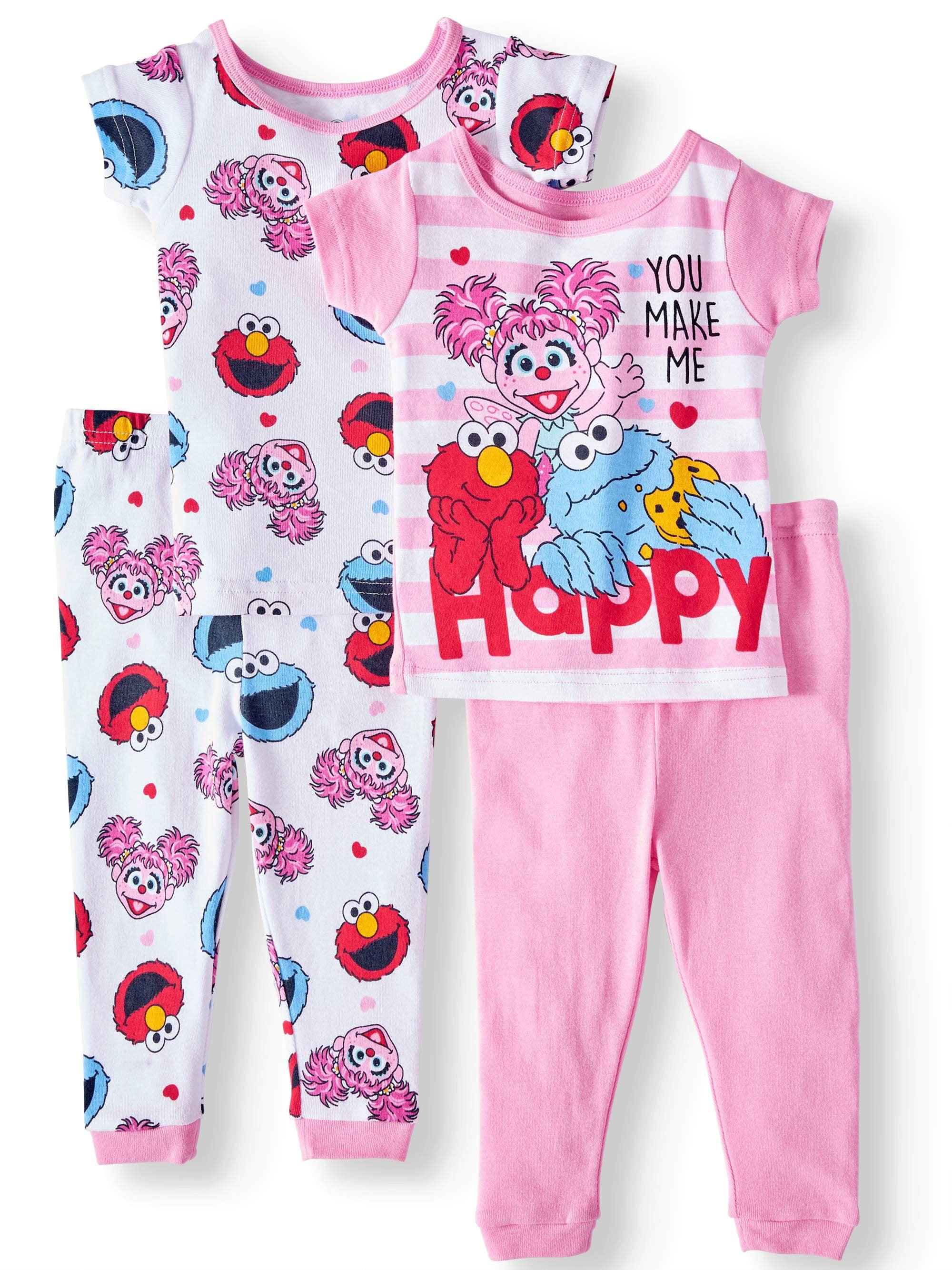 bab9f922e313 Sesame Street - Baby Girls  Cotton Tight Fit Pajamas