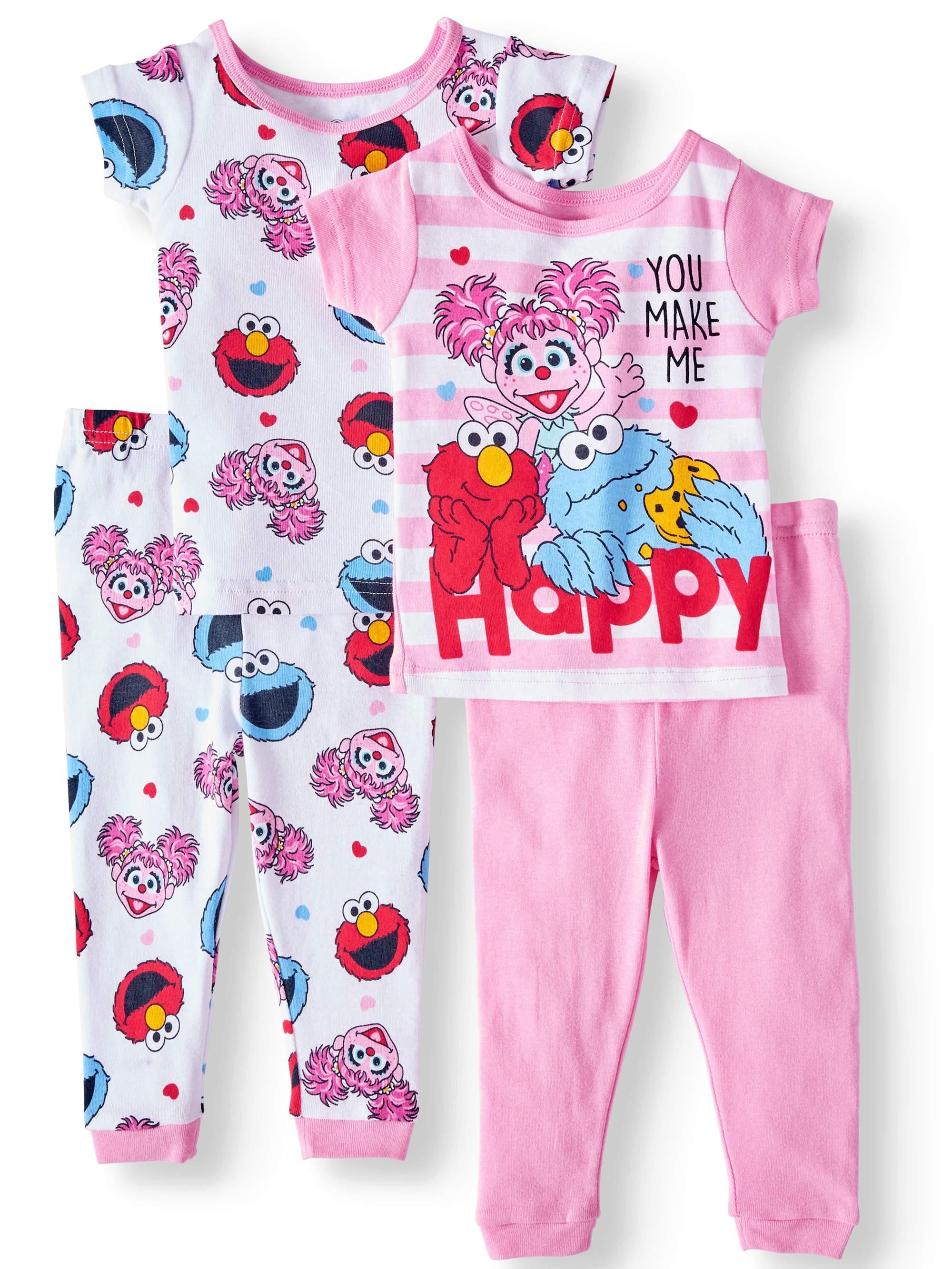 Baby Girls' Cotton Tight Fit Pajamas, 4-Piece Set