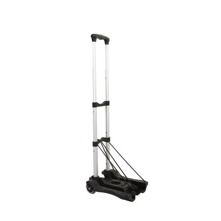 Lightweight Aluminum Hand Truck - Sundale Outdoor Folding Hand Truck w/Wheels and Hooks Lightweight Utility Cart Retractable Portable Grocery Cart for Luggage, Shopping, Office Use, Heavy Duty Aluminum Frame, 80-Pound Capacity,Black