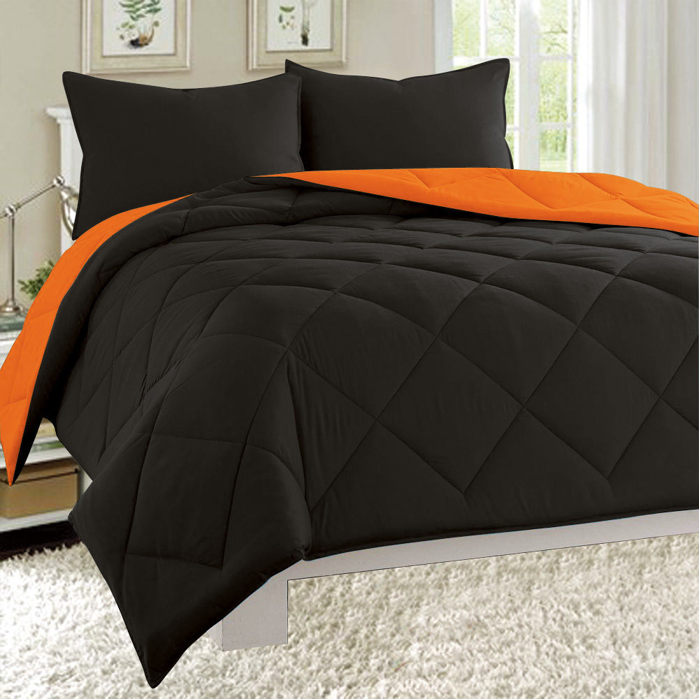 Dayton Queen Size 3-Piece Reversible Comforter Set Soft Brushed Microfiber Quilted Bed Cover Black & Orange
