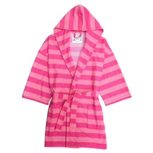 Fuchsia Pink Rugby Striped Hooded Terry Robe Girls 4-16