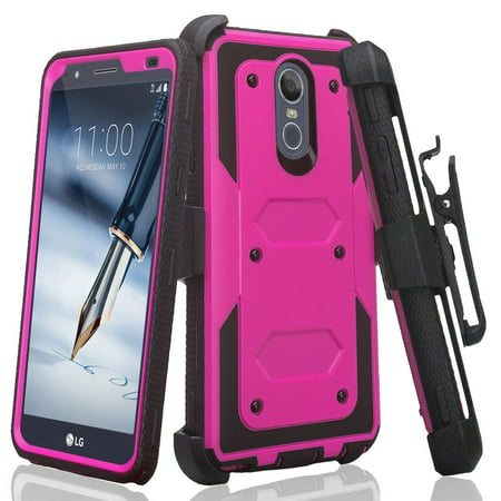 LG Stylo 5 Case, Stylo 5 Plus Case w/ Built in Screen Protector Heavy Duty Drop Protection Holster Dual Layer Case Cover Combo - Purple Purple Shield Protector Case