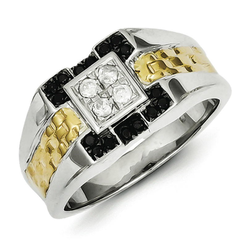 Sterling Silver and Gold Plated Black & White Diamond Men...