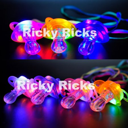 Light Up Pacifier LED Rave Party Glow Glowing Whistle Flashing Lanyard Blinking (Hard