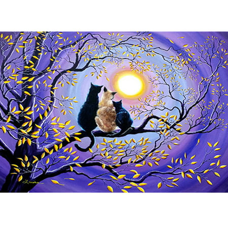 DIY Diamond Painting Mixed Color Three Cats A Family Moon Cross Stitch Embroidery Decoration Handwork Mosaic Resin Round Full Diamond 40*30cm