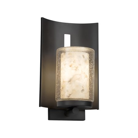Justice Design  Group Alabaster Rocks Embark 1-light Matte Black Outdoor Wall Sconce, Cylinder - Flat Rim Shade (Justice Design Flowers)
