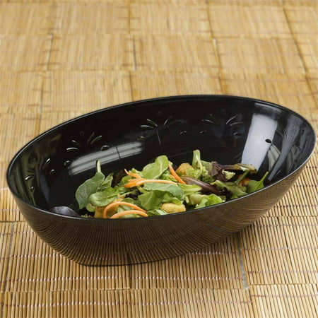 BalsaCircle 4 pcs 2 qt Disposable Oval Plastic Serving Bowls for Wedding Reception Party Buffet Catering Tableware Food