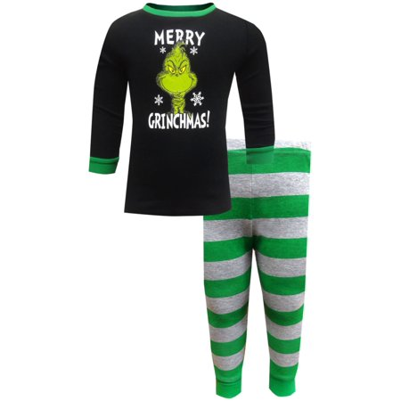 Dr. Seuss Toddler & Boys The Grinch  Merry Grinchmas Christmas Pajama Set 2T ()