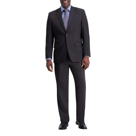 Men's J.M. Haggar Premium Classic-Fit Flat-Front Stretch Suit Pants Charcoal Weave