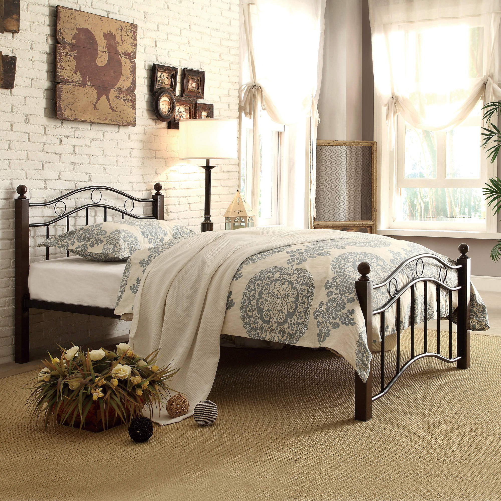 Chelsea Lane Abigail Brown Metal Platform Bed Multiple