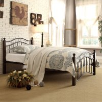 Chelsea Lane Abigail Brown Metal Platform Bed, Multiple Sizes