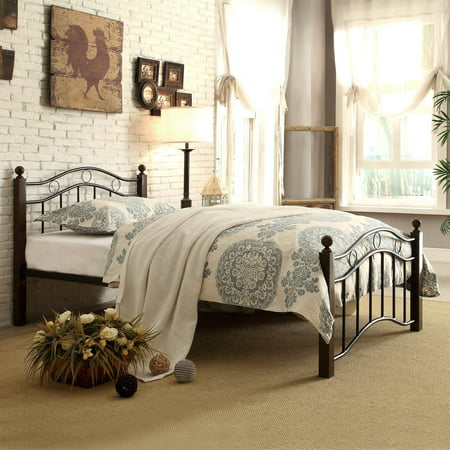 45 Day Bed - Abigail Brown Metal Platform Bed, Multiple Sizes