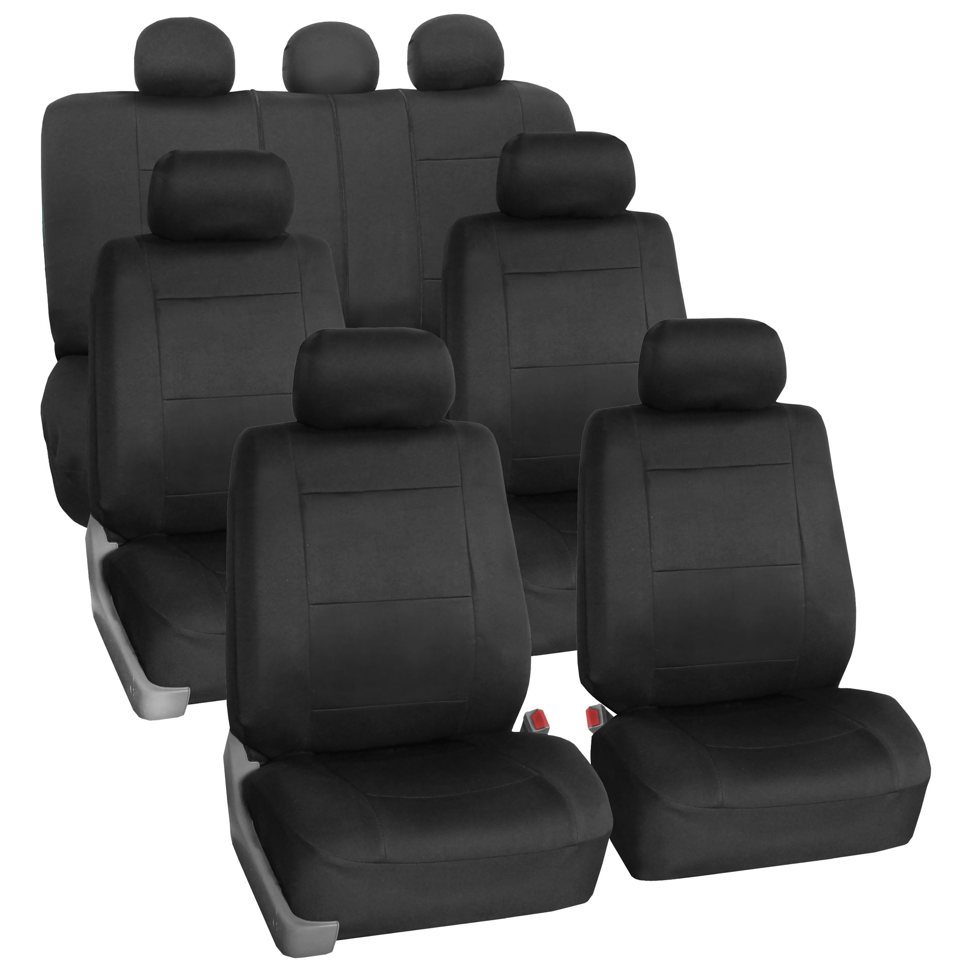 Neoprene 3 Row Car Seat Covers For SUV VAN TRUCK, Airbag Compatible Split Bench 7 Seaters, Black