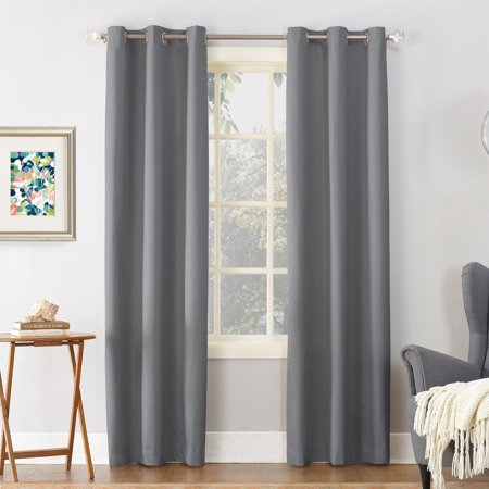 "95""x40"" Cooper Textured Thermal Insulated Grommet Top Room Darkening Curtain Panel Gray - Sun Zero"