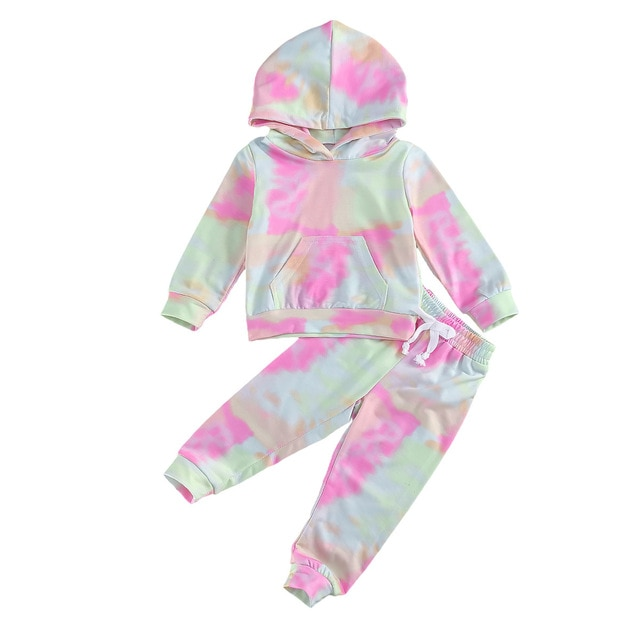 Toddler Baby Girls Hooded Tie-Dye Sweatshirt Blouse Top Long Sleeve Casual Clothes